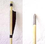3 Stück Holzpfweile naturbefiedert mit Metalspitze / Botkinspitze