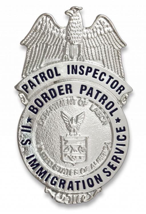US Border Patrol Marke  Badge des US Immigrations Service Border Patrol Patrol Insepctor US Department of Labor Blau auf silbernen Grund Ohne Clip, für Badgeholder oder Ausweistaschen 7x4cm