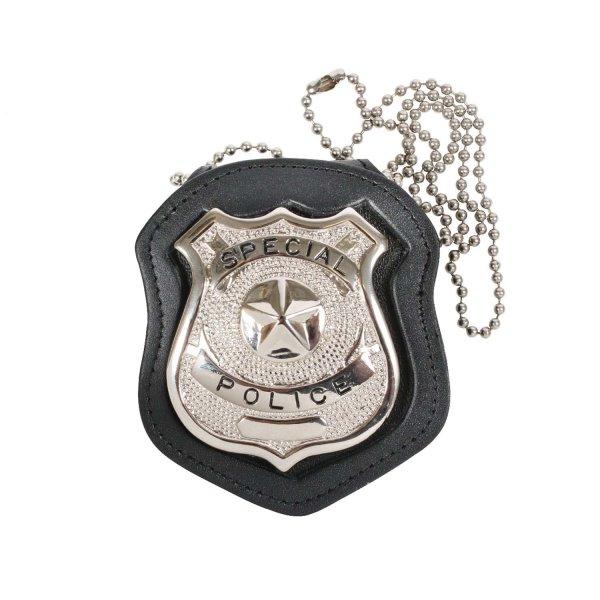 Leder-Badge-Holder mit Kette und Gürtel-Clip