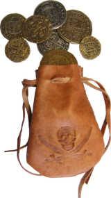 Lederbeutel für Münzen mit Dublonen